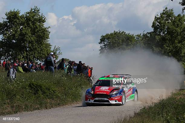 Nicolas Fuchs of Peru and Fernando Mussano of Argentina compete in their Ford Fiesta R5 during Day One of the WRC Poland on June 27 2014 in Mikolajki...