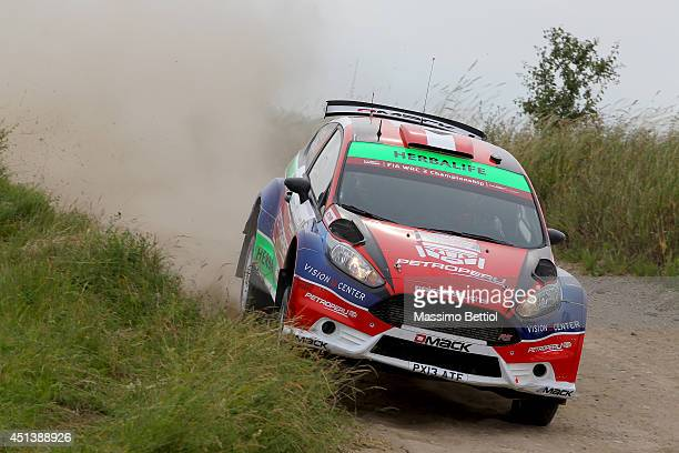Nicolas Fuchs of Peru and Fernando Mussano of Argentina compete in their Ford Fiesta R5 during Day Two of the WRC Poland on June 28 2014 in Mikolajki...