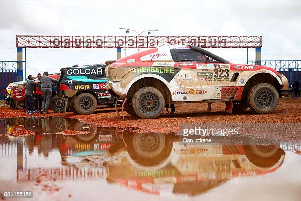 Nicolas Fuchs of Peru and HRX Wevers Sport sits in his Ford HRX car as he prepares to depart the camp after stage six of the 2017 Dakar Rally between...