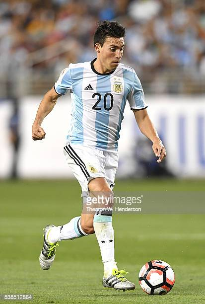 Nicolas Gaitan of Argentina dribbles the ball up field against Chile during the 2016 Copa America Centenario Group match play between Argentina and...