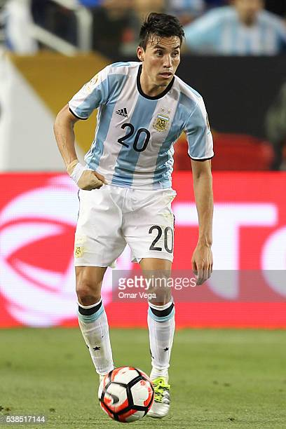Nicolas Gaitan of Argentina drives the ball during a group D match between Argentina and Chile at Levi's Stadium as part of Copa America Centenario...