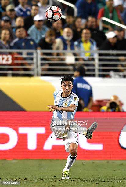 Nicolas Gaitan of Argentina kicks the ball up field against Chile during the 2016 Copa America Centenario Group match play between Argentina and...