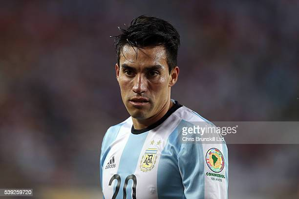Nicolas Gaitan of Argentina looks on during the Copa America Centenario Group D match between Argentina and Chile at Levi's Stadium on June 6 2016 in...