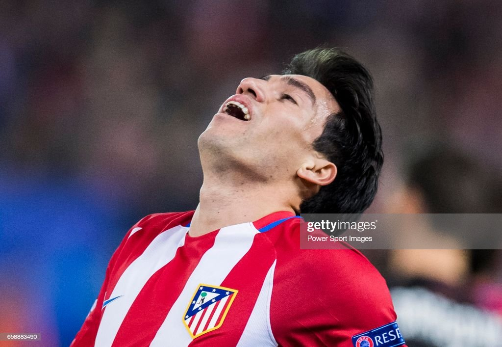 Nicolas Gaitan of Atletico de Madrid reacts during their 2016-17 UEFA Champions League Round of 16 second leg match between Atletico de Madrid and Bayer 04 Leverkusen at the Estadio Vicente Calderon on 15 March 2017 in Madrid, Spain.