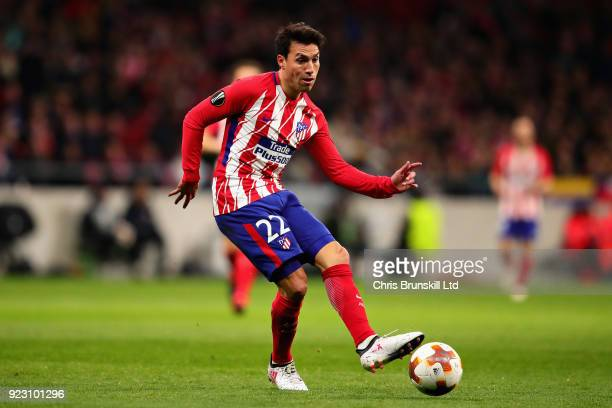 Nicolas Gaitan of Atletico Madrid in action during the UEFA Europa League Round of 32 match between Atletico Madrid and FC Copenhagen at the Wanda...