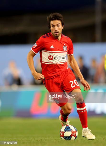 Nicolas Gaitan of Chicago Fire takes the ball in the second half against the New York City FC at Yankee Stadium on April 24 2019 in the Bronx borough...