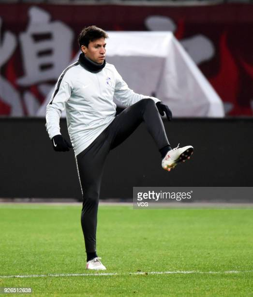 Nicolas Gaitan of Dalian Yifang attends a training session on March 2 2018 in Shanghai China