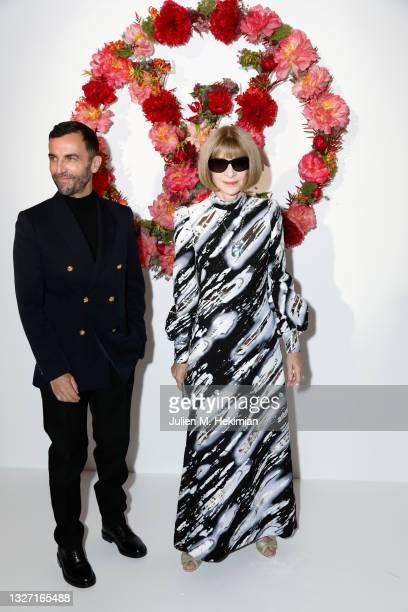 Nicolas Ghesquiere and Anna Wintour attend the Louis Vuitton Parfum Dinner at Fondation Louis Vuitton on July 05, 2021 in Paris, France.