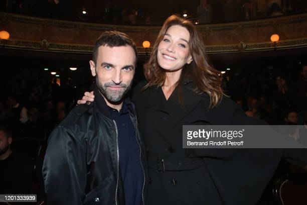 Nicolas Ghesquiere and Carla Bruni attend the Jean-Paul Gaultier Haute Couture Spring/Summer 2020 show as part of Paris Fashion Week at Theatre Du...