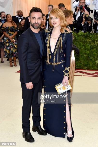 Nicolas Ghesquiere and Emma Stone attend the Heavenly Bodies Fashion The Catholic Imagination Costume Institute Gala at The Metropolitan Museum of...