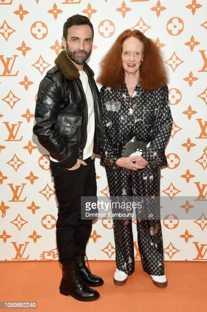 Nicolas Ghesquiere and Grace Coddington attend the Louis Vuitton X Grace Coddington Event on October 25 2018 in New York City