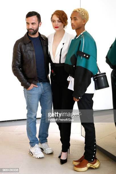 Nicolas Ghesquiere Emma Stone and Jaden Smith attend the LVMH Prize 2018 Edition at Fondation Louis Vuitton on June 6 2018 in Paris France