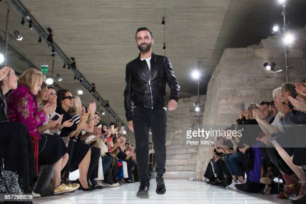 Nicolas Ghesquiere walks the runway at the end of the Louis Vuitton Paris show as part of the Paris Fashion Week Womenswear Spring/Summer 2018 on...