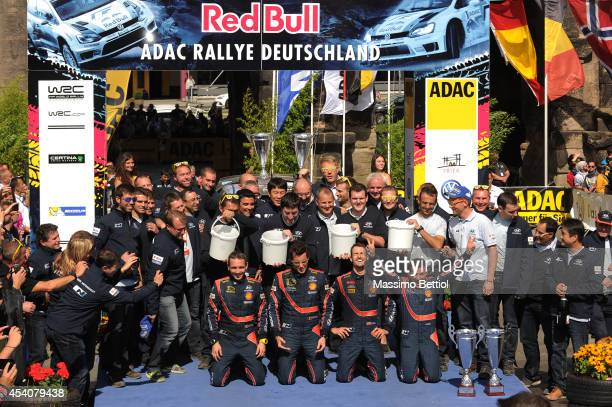 Nicolas Gilsoul of Belgium and Thierry Neuville of Belgium Daniel Sordo of Spain and Marc Marti of Spain celebrate the first and the second position...