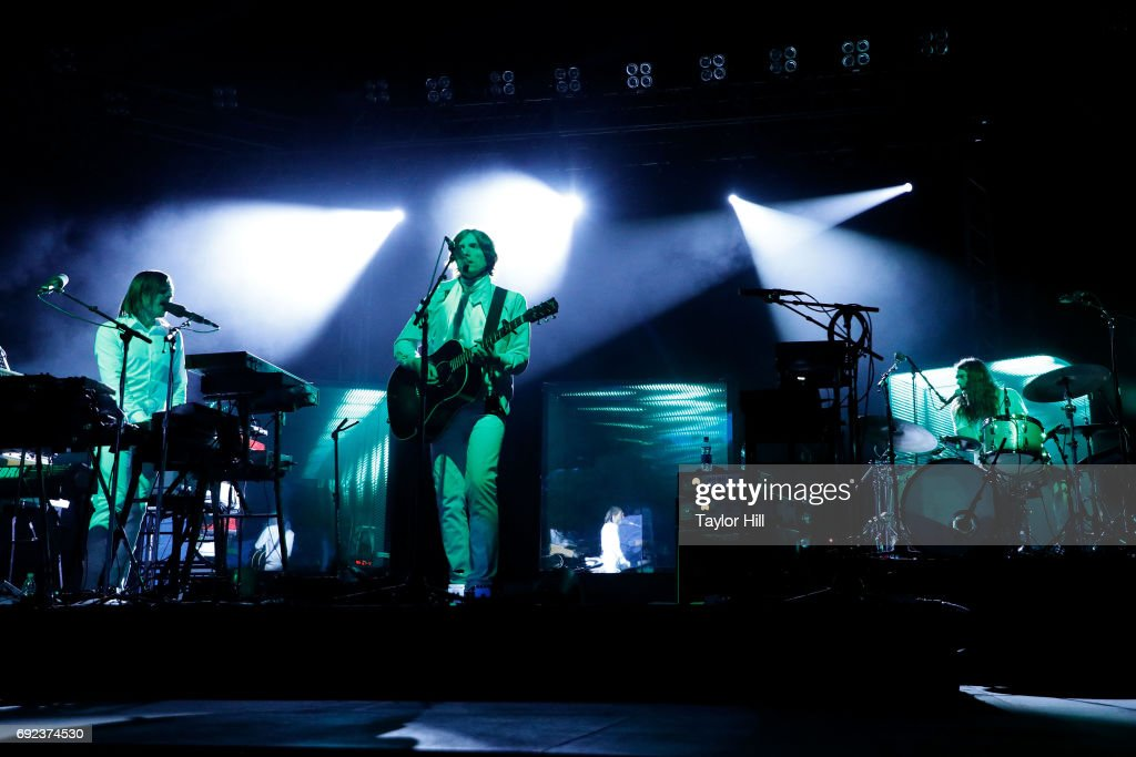 """Nicolas Godin and Jean-Beno""""t Dunckel perform of Air perform live onstage during 2017 Governors Ball Music Festival - Day 3 at Randall's Island on June 4, 2017 in New York City."""