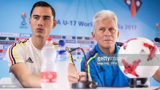 Nicolas Gomez and head coach Orlando Restrepo of Columbia look on during a press conference ahead of the FIFA U17 World Cup India 2017 tournament at...