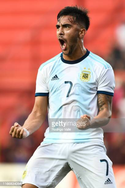 Nicolas Gonzalez of Argentina U23 celebrates after scoring the first goal of his team during a friendly match between Argentina U23 and Colombia U23...