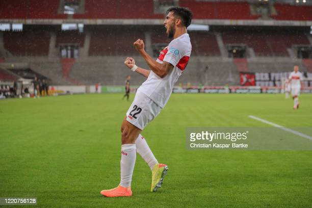 Nicolas Gonzalez of VfB Stuttgart celebrates after scoring his team`s fourth goal during the Second Bundesliga match between VfB Stuttgart and SV...