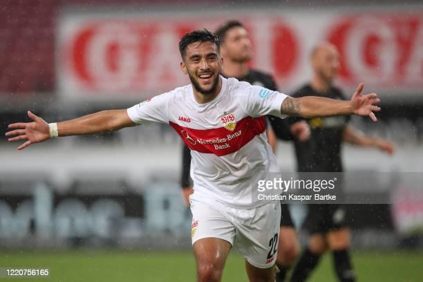 Nicolas Gonzalez of VfB Stuttgart celebrates after scoring his team`s fourth goal during the Second Bundesliga match between VfB Stuttgart and SV...