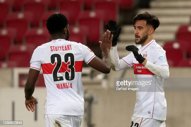 Nicolas Gonzalez of VfB Stuttgart celebrates after scoring his team's first goal with teammates during the Bundesliga match between VfB Stuttgart and...