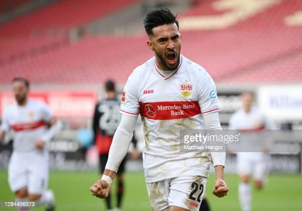 Nicolas Gonzalez of VfB Stuttgart celebrates during the Bundesliga match between VfB Stuttgart and Eintracht Frankfurt at Mercedes-Benz Arena on...