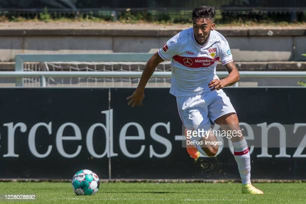 Nicolas Gonzalez of VfB Stuttgart controls the Ball during the pre-season friendly match between VfB Stuttgart and SV Sandhausen on August 8, 2020 in...