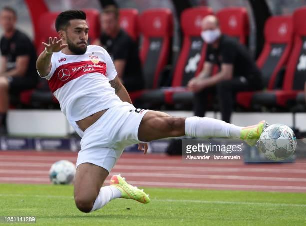 Nicolas Gonzalez of VfB Stuttgart controls the ball during the Second Bundesliga match between 1. FC Nürnberg and VfB Stuttgart at...