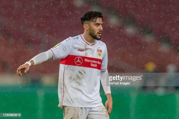Nicolas Gonzalez of VfB Stuttgart gestures during the DFB Cup Round of Sixteen match between VfB Stuttgart and Borussia Mönchengladbach at...