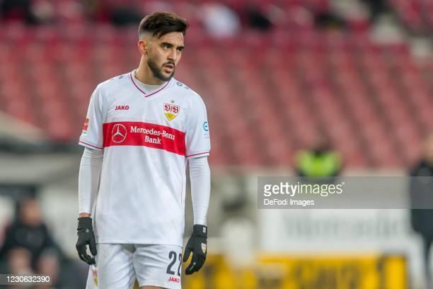 Nicolas Gonzalez of VfB Stuttgart Looks on during the Bundesliga match between VfB Stuttgart and Borussia Moenchengladbach at Mercedes-Benz Arena on...