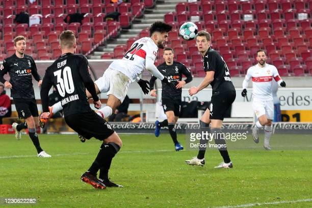 Nicolas Gonzalez of VfB Stuttgart scores his team's first goal during the Bundesliga match between VfB Stuttgart and Borussia Moenchengladbach at...