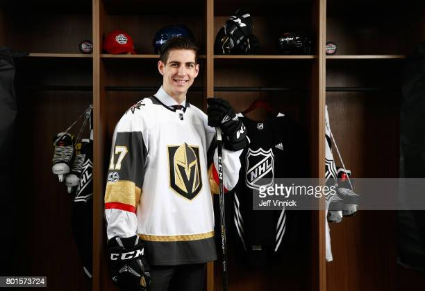Nicolas Hague 34th overall pick of the Vegas Golden Knights poses for a portrait during the 2017 NHL Draft at United Center on June 24 2017 in...