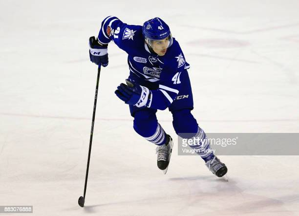 Nicolas Hague of the Mississauga Steelheads skates during an OHL game against the Niagara IceDogs at the Meridian Centre on November 25 2017 in St...