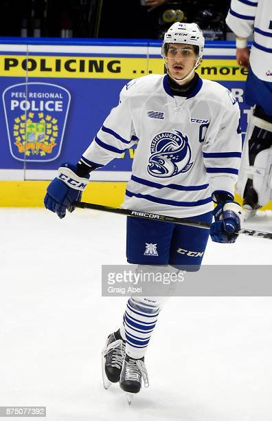 Nicolas Hague of the Mississauga Steelheads skates in warmup prior to a game against the Erie Otters on November 15 2017 at Hershey Centre in...
