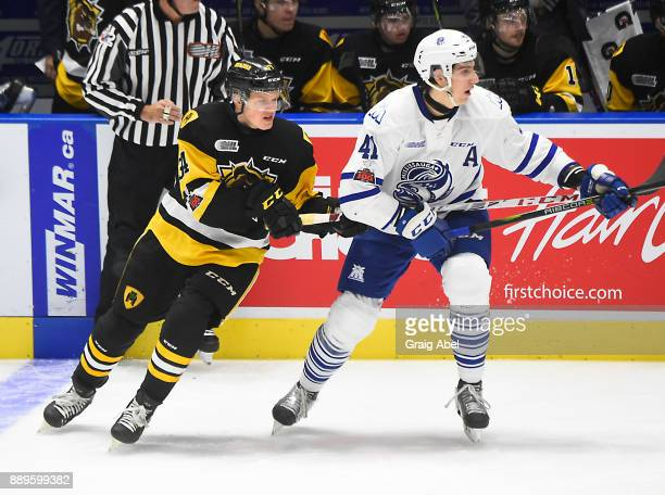 Nicolas Hague of the Mississauga Steelheads turns up ice against Arthur Kaliyev of the Hamilton Bulldogs during game action on December 10 2017 at...