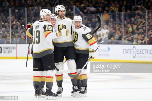 Nicolas Hague of the Vegas Golden Knights celebrates with Nate Schmidt, during the second period at TD Garden on January 21, 2020 in Boston,...