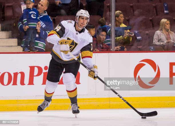 Nicolas Hagueof the Las Vegas Golden Knights skates before a game against the Vancouver Canucks in NHL preseason action on September 17 2017 at...
