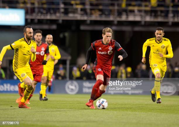 Nicolas Hasler of Toronto FC kicks the ball during the first leg of the Eastern Conference Finals between the Columbus Crew SC and the Toronto FC at...