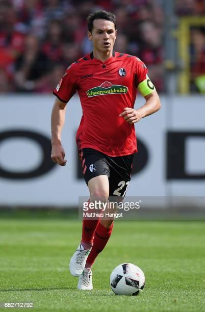 Nicolas Hoefler of Freiburg controls the ball during the Bundesliga match between SC Freiburg and FC Ingolstadt 04 at SchwarzwaldStadion on May 13...