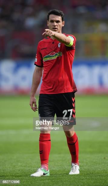 Nicolas Hoefler of Freiburg gestures during the Bundesliga match between SC Freiburg and FC Ingolstadt 04 at SchwarzwaldStadion on May 13 2017 in...