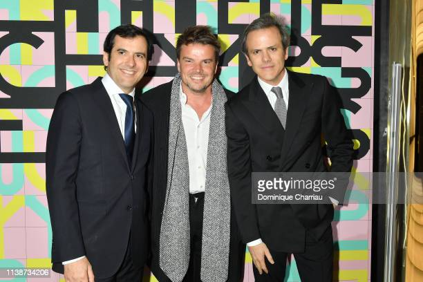 Nicolas Houze Bjarke Ingels and Guillaume Houze attend the Galeries Lafayette ChampsElysees OpeningPhotocall at Galeries Lafayette ChampsElysees on...