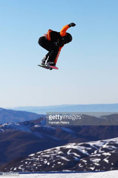 Nicolas Huber of Switzerland competes during Winter Games NZ FIS Men's Snowboard World Cup Slopestyle Finals at Cardrona Alpine Resort on September 4...