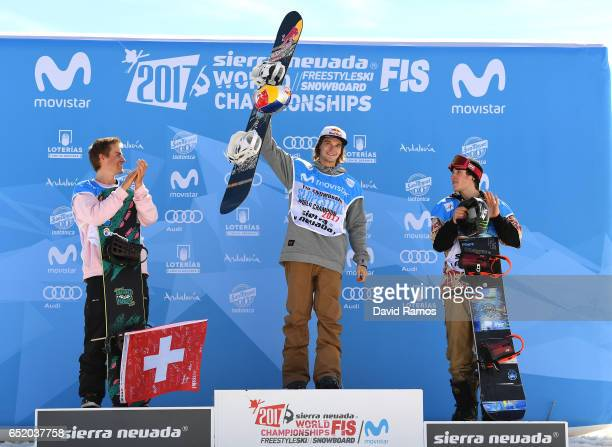 Nicolas Huber of Switzerland Seppe Smits of Belgium and Chris Corning of the United States celebrate winning their medals during the medal ceromeny...