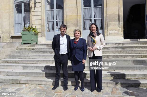 Nicolas Hulot French Minister of Ecological and Inclusive Transition German Environment Minister Svenja Schulze and Junior Minister Brune Poirson...