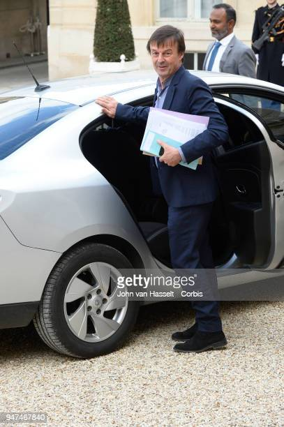 Nicolas Hulot Minister of Ecological and Inclusive Transition leaves the Elysee Palace after her meeting with both heads of state President Emmanuel...