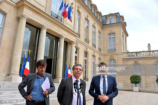 Nicolas Hulot Special Envoy of the French President for the Protection of the Planet Alain Grandjean economist and Pascal Canfin member of Europe...