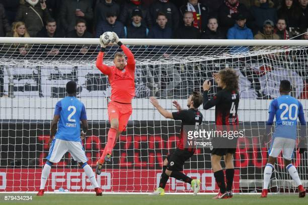 Nicolas Isimat Mirin of PSV goalkeeper Jeroen Zoet of PSV Milan Massop of Excelsior Wout Faes of Excelsior Joshua Brenet of PSV during the Dutch...