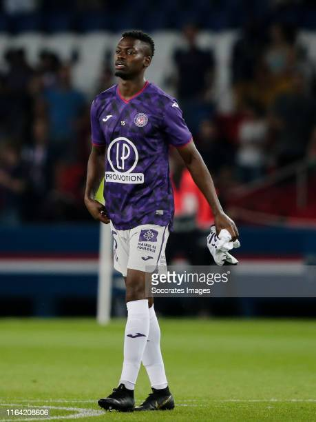 Nicolas Isimat Mirin of Toulouse during the French League 1 match between Paris Saint Germain v Toulouse at the Parc des Princes on August 25, 2019...
