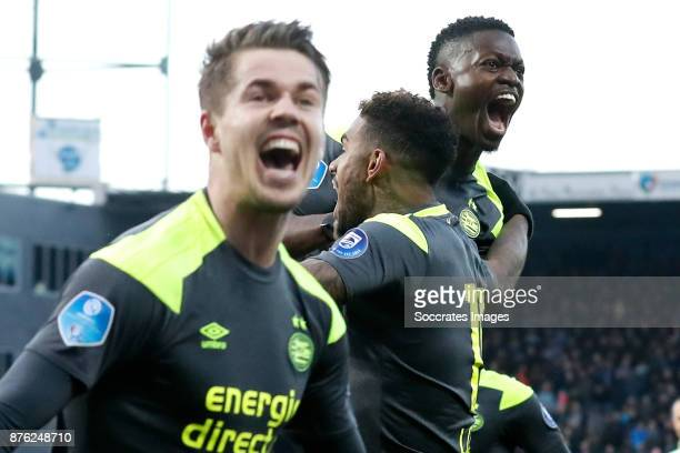 Nicolas Isimat of PSV celebrates 0-1 with Marco van Ginkel of PSV, Jurgen Locadia of PSV during the Dutch Eredivisie match between PEC Zwolle v PSV...