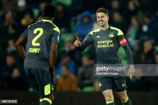 Nicolas Isimat of PSV Marco van Ginkel of PSV during the Dutch Eredivisie match between FC Groningen v PSV at the NoordLease Stadium on December 13...