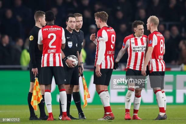 Nicolas Isimat of PSV referee Dennis Higler Luuk de Jong of PSV Santiago Arias of PSV Jorrit Hendrix of PSV during the Dutch Eredivisie match between...